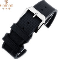 Rubber Watch Strap Semi curved High quality stainless steel 22mm natural rubber Waterproof Black Rubber Strap For IWC Watch Band