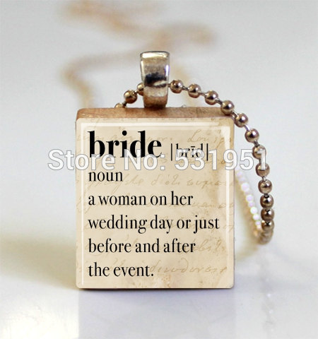 wholesale gift for bride wedding jewelry bridal shower dictionary definition scrabble tile pendant with ball chain necklace in pendant necklaces from