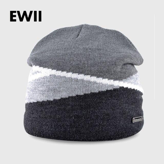 2017 Uomo inverno berretto di maglia beanie cappelli per uomo berretti  cappello di lana skullies bone 21f11c002c29