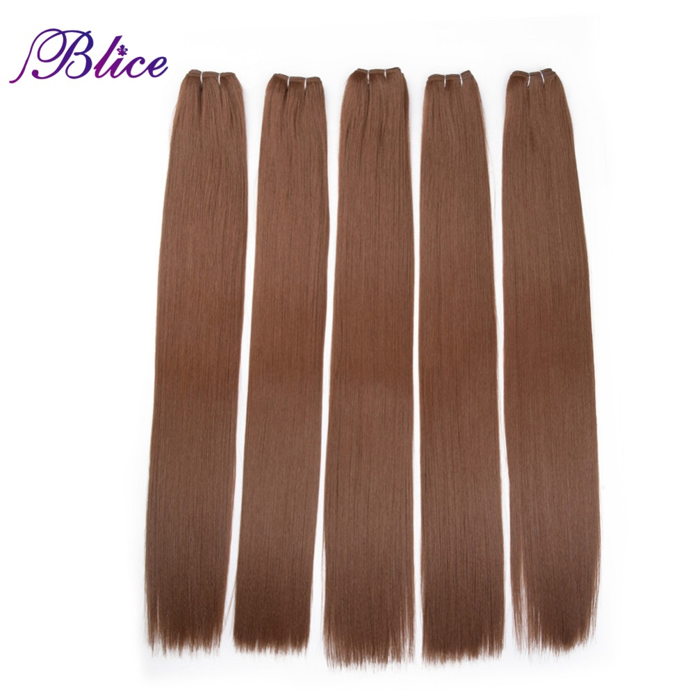 Blice Synthetic Hair Extensions 5 Pieces/Lot 26 Inch #30 Yaki Straight Hair Weaving Long Length 100g/Piece All Colors Available
