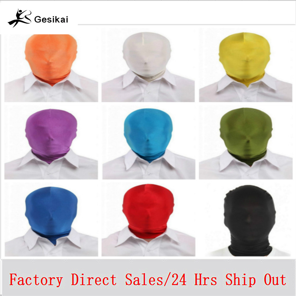 Kids Adult Full Face Mask Spandex Lycra Headgear Goog View Zentai Party Dress Unisex Halloween Hooded Mask
