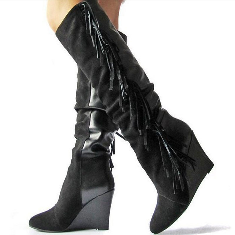 Бренда колен высокие ботинки сексуальные клинья кожи кисточкой туфли botas круглый носок молнии дизайн ботинки женщин