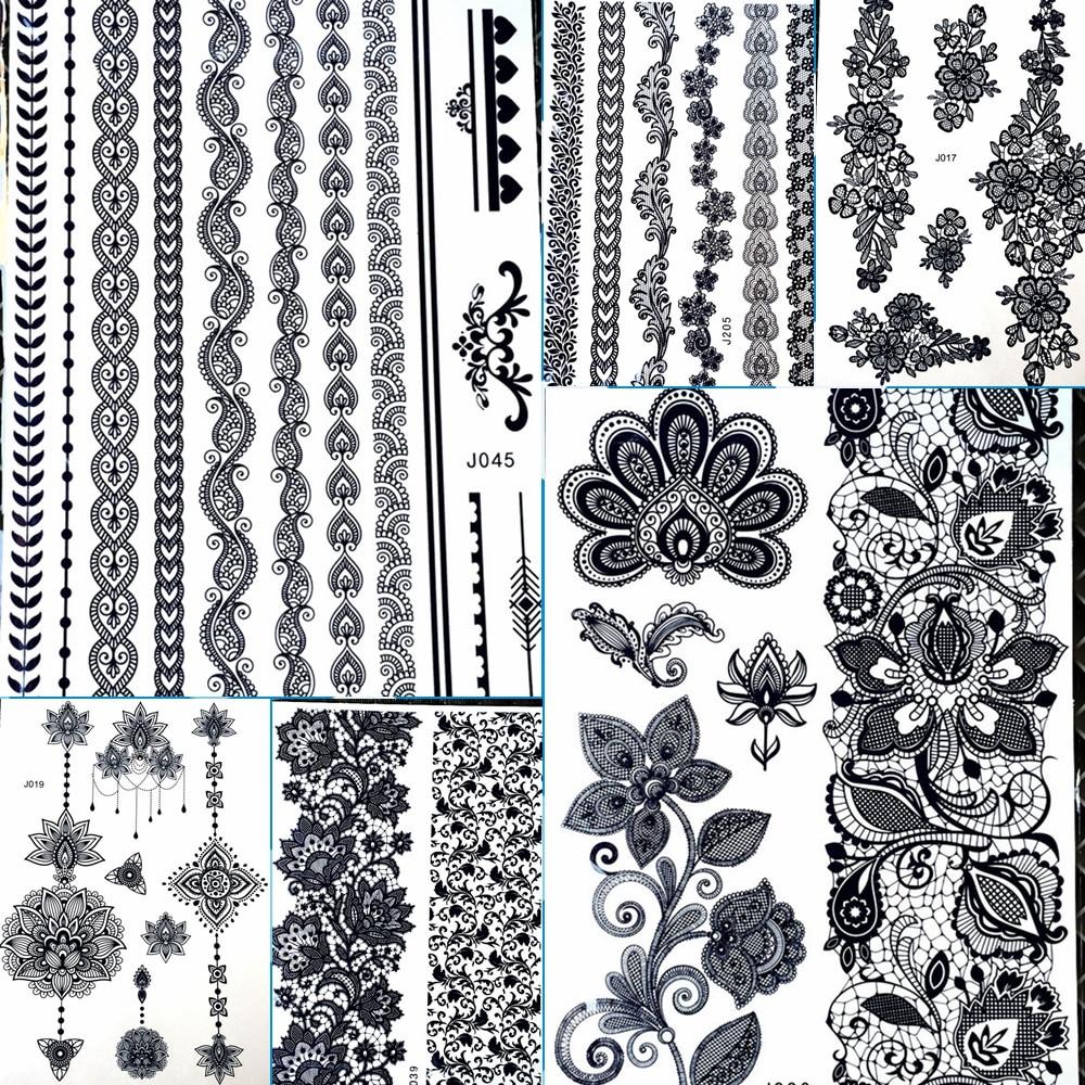 Henna Lace Bracelet Temporary Tattoo Sticker: 25 Designs Black Bracelets Chains Water Transfer Henna