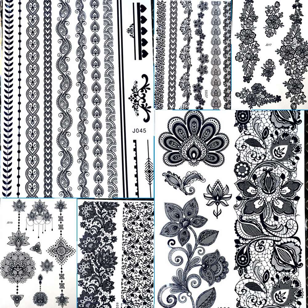 25 Designs Black Bracelets Chains Water Transfer Henna Tattoo Sticker For Legs Hands Arm Fake Waterproof Flower Large Lace Tatoo