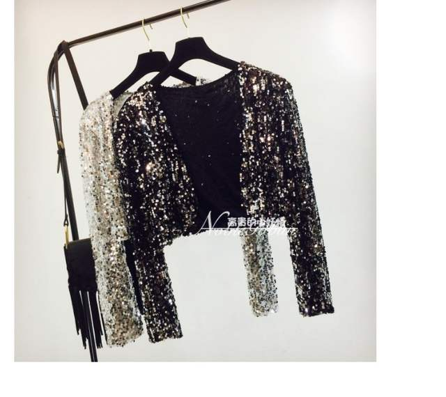 3ee0406f7d US $18.99 52% OFF| Sparkly Sexy Women Sequin Cardigan Jacket Coat Long  Sleeve Short Cropped Bolero Shrug Clubwear Vintage Party Costumes A243-in  Basic ...