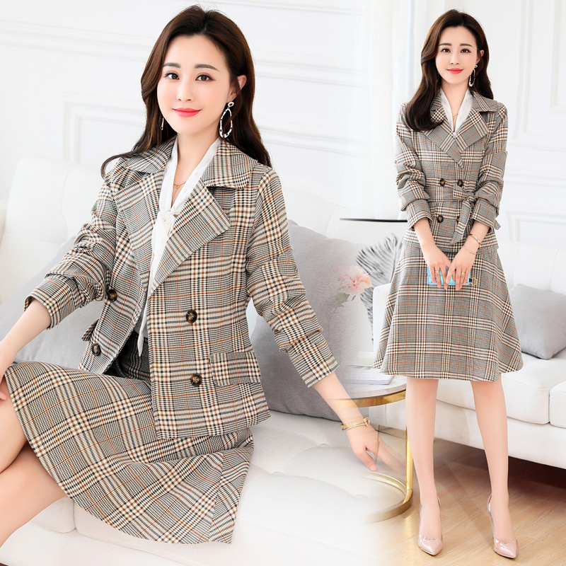 2019 New Fashion Korean Style Women Plaid Skirt Suits Lady Office Work Khaki Notched Two Pieces