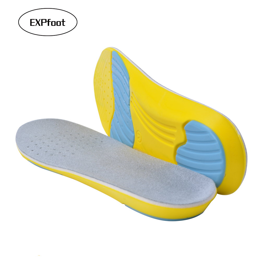 EXPfoot Unisex Light Arch Support Insole  PU shoe pad buffer Knitted fabric breathable comfortable insole for sports shoes