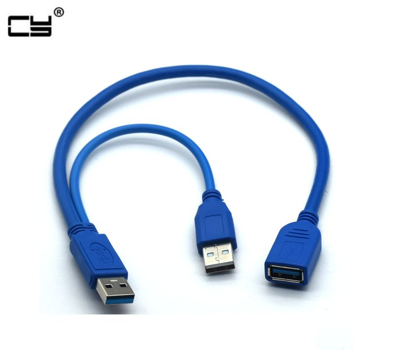 Black USB 3.0 Y Type Cable Two USB 3.0 A Male To USB Female Y Cable For External Hard Disk With Extra Power 30cm 50cm