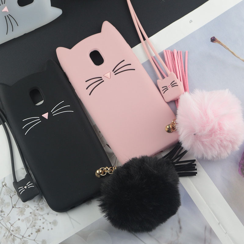 Fitted Cases 100% True Botexbling Cute Cartoon Cat Ear Tail Case Plush Fur Ball Soft Back Cover C5 For Samsung A3 A5 A7 J3 J5 J7 2016 2017 Prime A8 A9