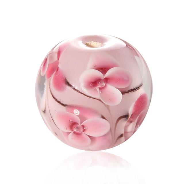Online Shop Handmadelampwork Glass Beads Round Pink Flower