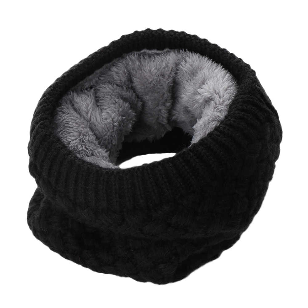5de2cde54ad1e ... 1PC Women Fashion Female Winter Warm Scarf Cowl Collar Circle Scarf  Solid Chunky Cable Knit Wool ...