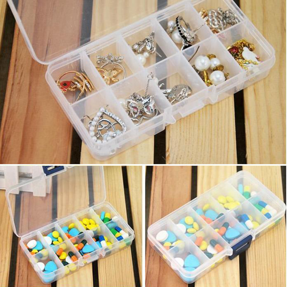 New plastic 10 slots compartment jewelry necklace for Craft storage boxes with compartments
