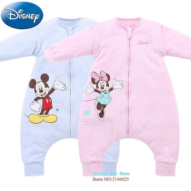 все цены на Disney Baby Sleeping Bag 80/90/100cm Baby Spring Summer Thin Cotton Children Mickey Short Sleeve Newborn Baby Sleepsacks