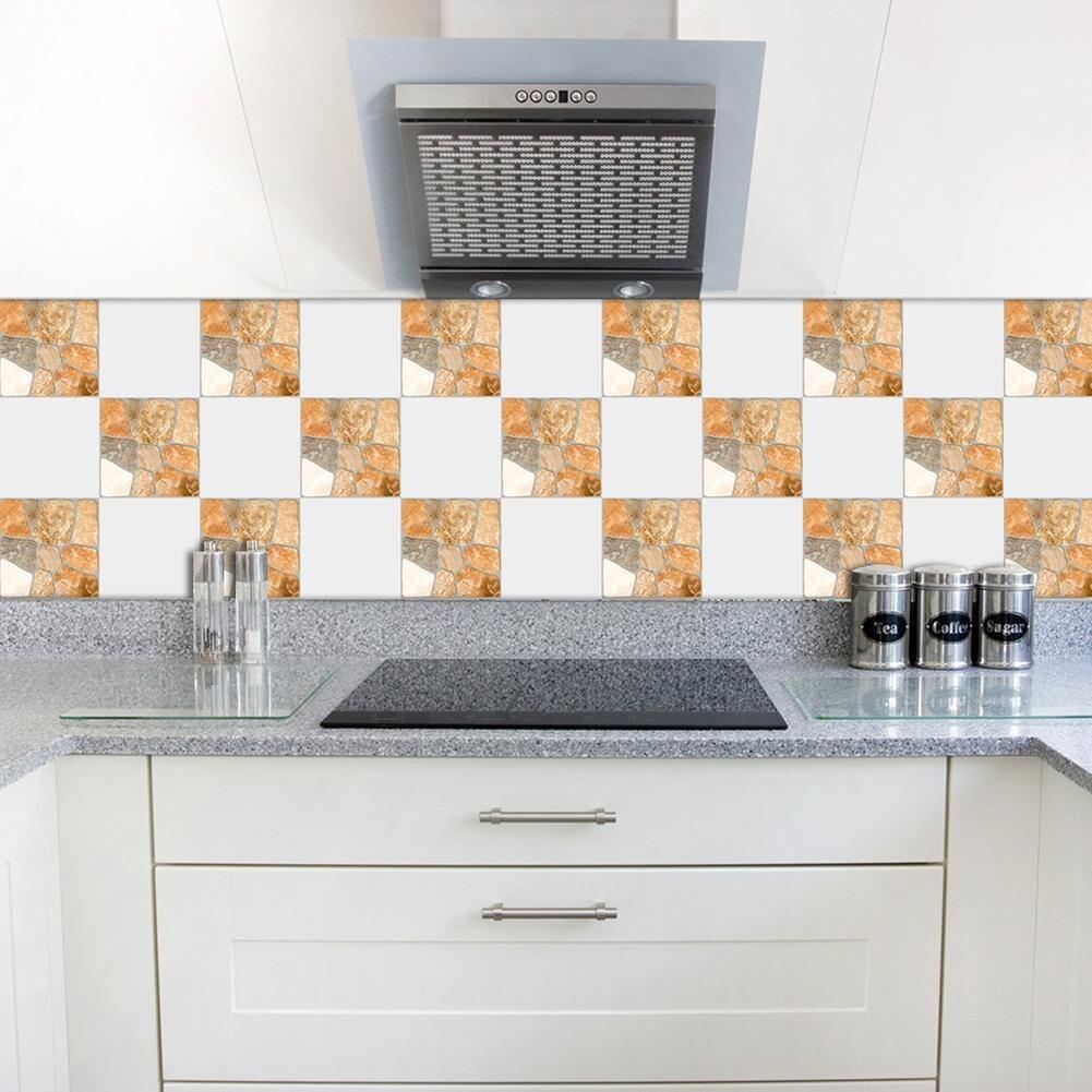 10pcs/set New Yellow Stone Texture Tile Stickers Bathroom Kitchen ...