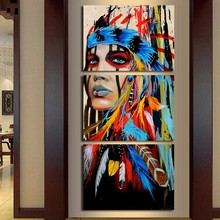 Frame Living Room HD Printed Painting 3 Panel Native American Indian Girl Feathered Home Decor Posters Modern Wall Art Pictures