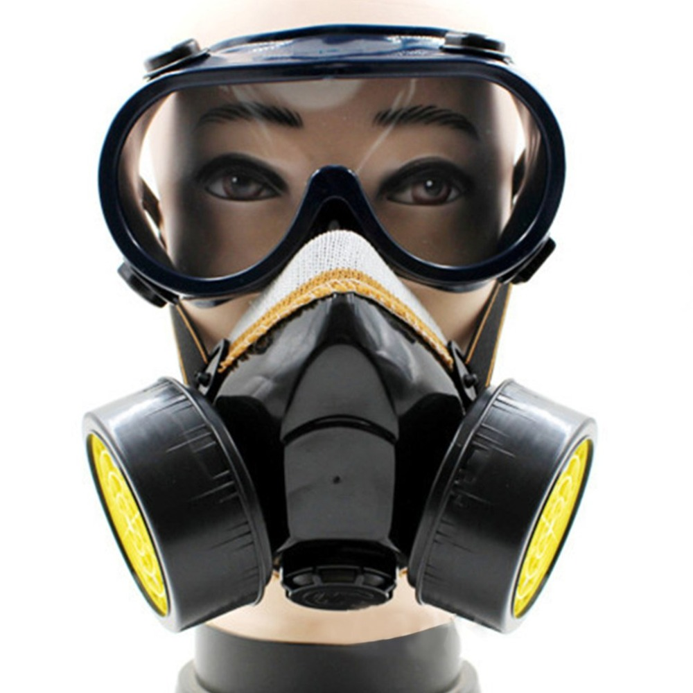 цена на Dual Cartridge Anti-Dust Mask Chemical Safety Painting Gas Filter Respirator with Goggles Industrial Safety Equipment