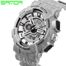 SANDA Men Sport Watches 2019 Military Watch Watches Relogios Masculinos Digital Watches Silicone Band Waterproof cheap Quartz Wristwatches Resin 20mm Complete Calendar Auto Date Shock Resistant Rattrapante Water Resistant Diver Back Light Alarm Luminous