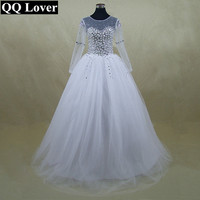 Beautiful Sheer Sleeve Wedding Dress Vestido De Noiva New Long Sleeve Bridal Gown Rhinestones Pearls Crystals