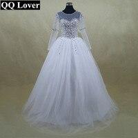 Beautiful Sheer Sleeve Wedding Dress Vestido De Noiva New Long Sleeve Bridal Gown Rhinestones Pearls Crystals
