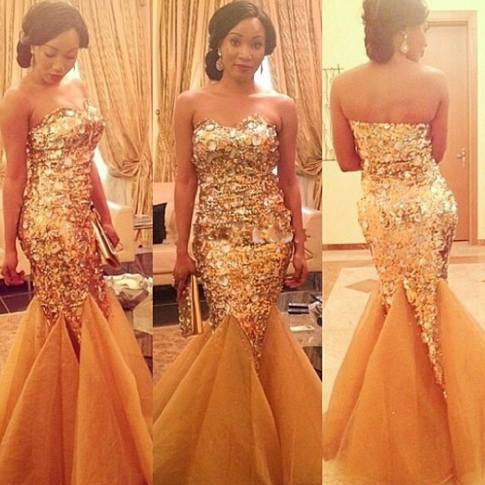 Gold Beaded Mermaid Prom Dress Dressed For Less