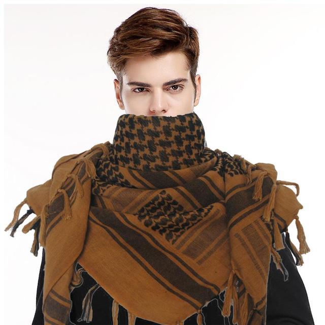 bastante agradable 4d63e 874b2 100% de algodón más grueso árabe bufandas los hombres invierno militar  Keffiyeh a prueba viento bufanda pañuelo musulmán Hijab Shemagh táctico ...