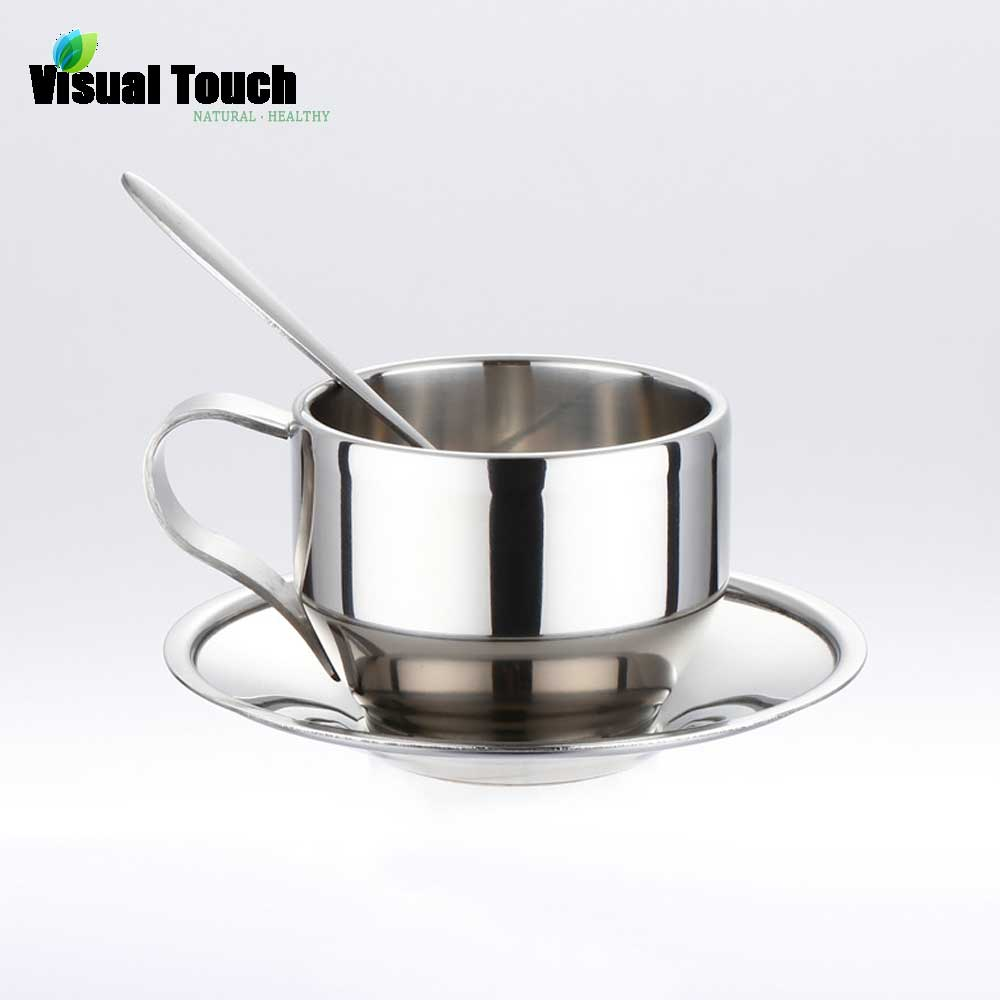 modern coffee cup set promotionshop for promotional modern coffee  - visual touch ml stainless steel double wall coffee cup saucer spoon setcoffee tea mug teacup