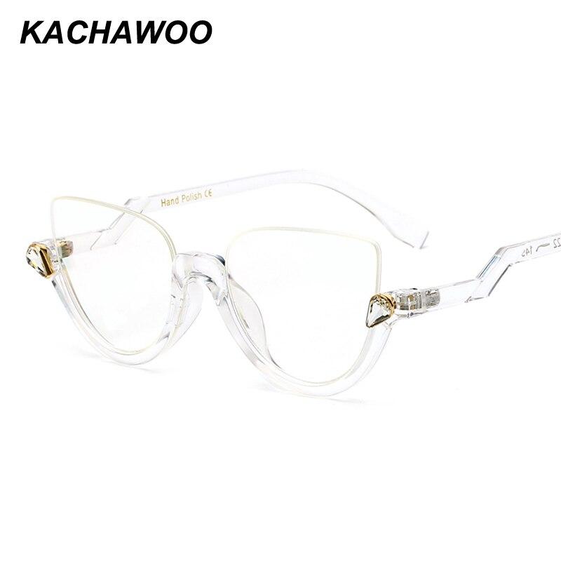 8cbc5067542 Kachawoo cat eye glasses frames half frame transparent black vintage eyeglasses  women accessories 2018 oculos transparente-in Eyewear Frames from Apparel  ...