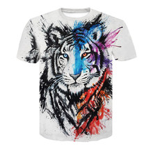 2019 New 3D Printing Black Stripes Domineering Tiger Head Ink Tiger T-shirt Refreshing Casual Quick-drying Men's Tops(China)