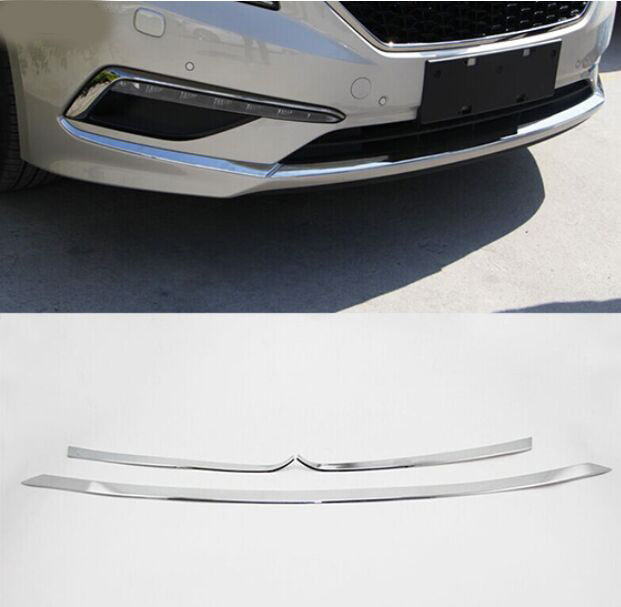 ACCESSORIES FIT FOR 2015 2016 HYUNDAI SONATA LF CHROME FRONT LOWER BUMPER COVER TRIM MOLDING GRILLE GARNISH for hyundai sonata nf front oxygen sensor 39210 25300