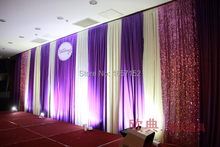 10ft*20ft Purple Party Backdrop Wholesale Party Backdrop for Stage Decoration Stage Backdrop with Detachable Swag