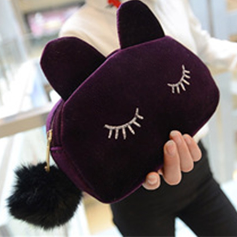 Kawaii Cute Cartoon Cat Velvet Solid Color Makeup Bags Cat Design Cosmetic Make Up Organizer Bag Women Bag Cosmetics Necessaries