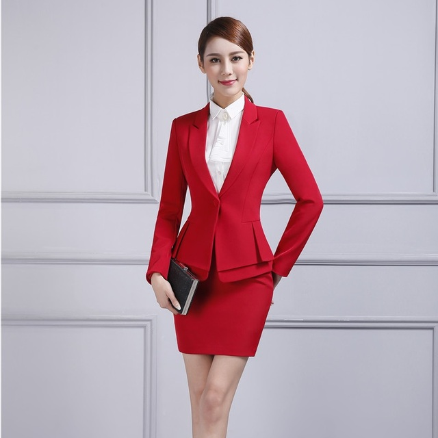 ed7ba44db8b ... Business Office Uniform Designs Formal Female Red Blazer Women Skirt  Suits Jacket Sets Elegant