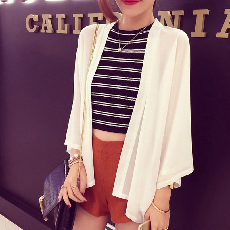 Chiffon Kimono Cardigan Casual 3/4 Batwing Sleeve Loose Black Women   Blouses     Shirts   Summer Women Tops Outerwear Top
