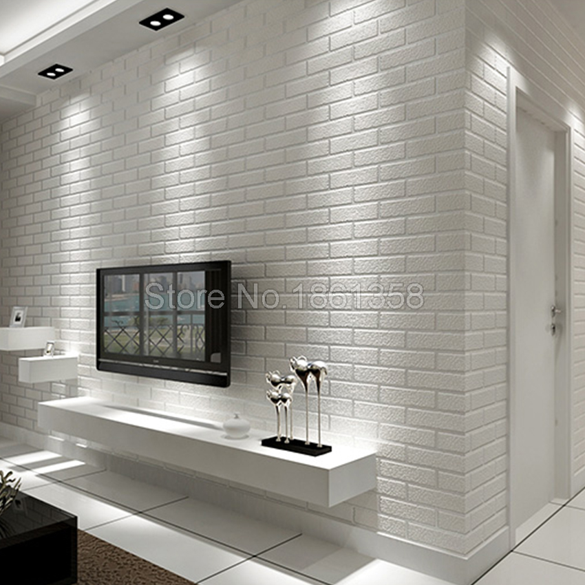 ФОТО Brick/Stone Pattern White 3D Wallpaper Roll Modern Design Vinyl Wall Covering Wallpaper For Living Room Bedroom Store Background