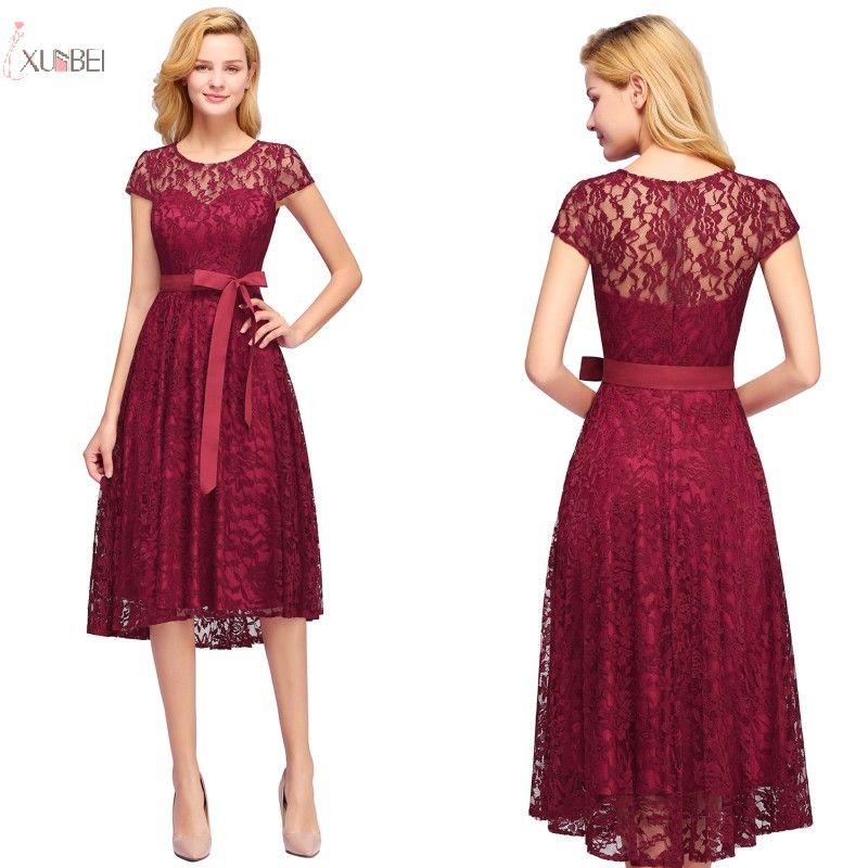 2019 Burgundy Navy Blue Pink Lace Short   Bridesmaid     Dresses   Scoop Neck A line Wedding Party Gown