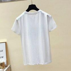 BOBOKATEER Cotton White Tshirt Women Tops Fashion Short Sleeve Vintage Female T-shirt Casual Black Tee Shirt Femme Summer 2019 4