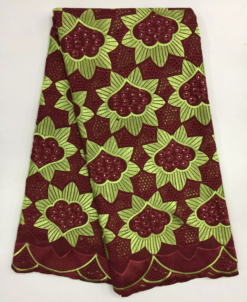Free shipping (5yards/pc) High quality African cotton lace fabric in wine red and lemon green hot selling for party dress CLS52Free shipping (5yards/pc) High quality African cotton lace fabric in wine red and lemon green hot selling for party dress CLS52