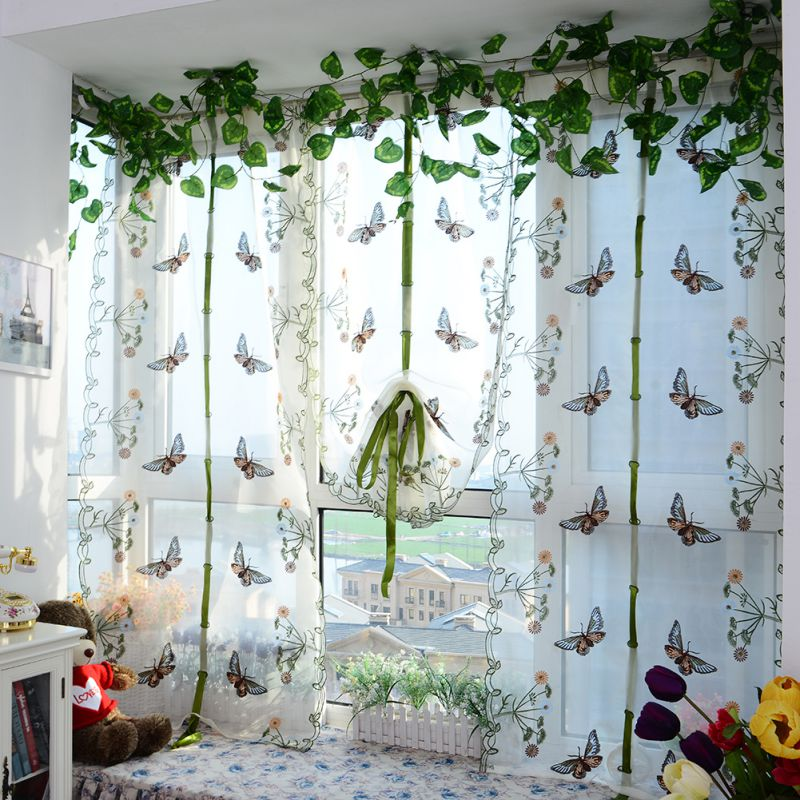 Indoor Fashion Butterfly Tulle Curtain For Windows Roman Shades Blinds Embroidered Sheer Curtains Kitchen Living Room Panel 2018