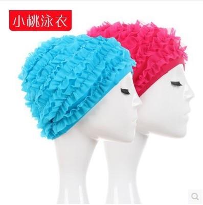 Elastic Waterproof PU Fabric Protect Ear Long Hair Sports Swim Pool Hat Swimming Cap Men Women elasticity Skid Casquette Flowers