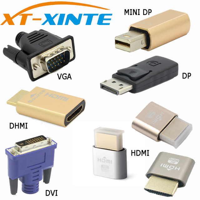 Xinte Connector VGA DVI HDMI Mini DP Display Port Virtual Display Dummy Adapter Plug EDID Headless KVM 2560 &1920*1080p@60Hz 4K