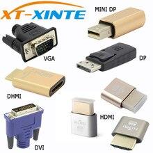 Conector xinte vga dvi hdmi mini dp expositor porta de exibição virtual manequim adaptador plug edid sem cabeça kvm 2560 & 1920*1080p @ 60hz 4k