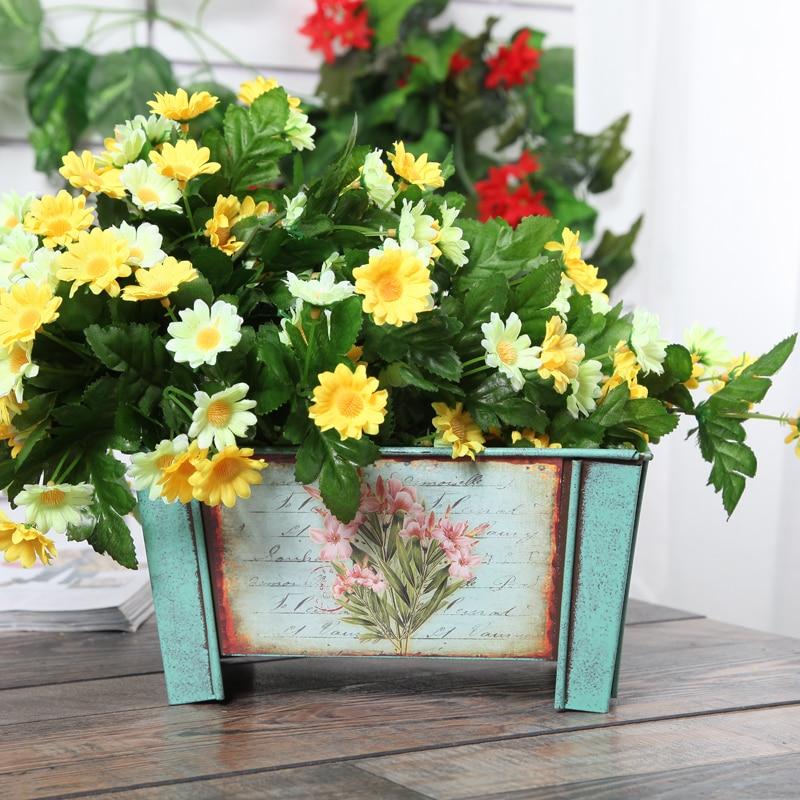 Pastoral Style Retro Tin Flower Tub Garden Pots Planters Handicrafts ...