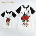 Bear Leader Family Dress 2017 Spring&Summer Style Family Matching Outfits Mother And Daughter Short Sleeve Rose Floral Dresses
