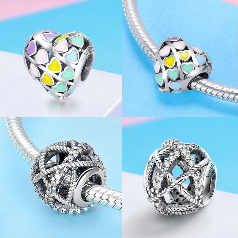 BISAER berloque 925 Sterling Silver Heart Heart Charms Lule rruaza - Bizhuteri të modës - Foto 4