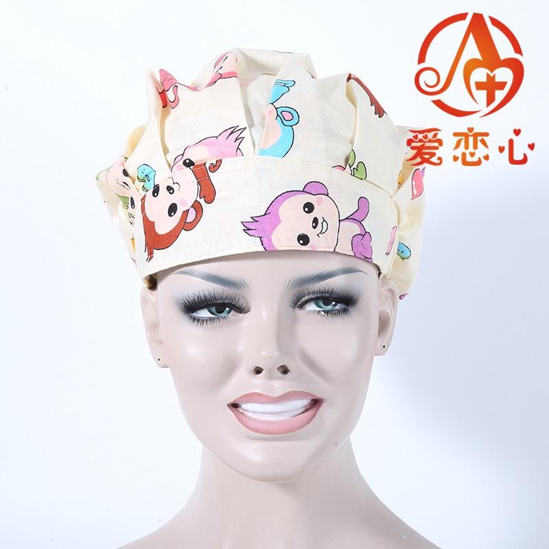 Ai Lianxin  brand surgical bouffant caps for long hair women use nian nian you yu ai lianxin surgical bouffant caps one size adjustable animal forest alx 192
