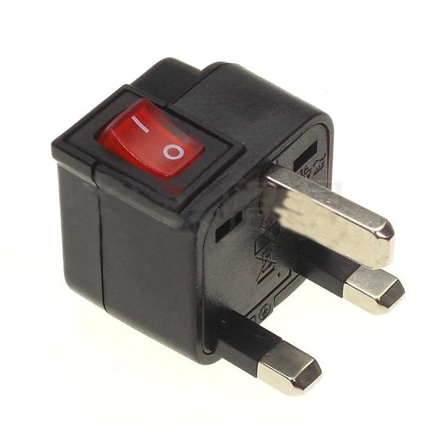 EU US UK AU Universal Power Plug Converter Travel Adapter With LED Main Switch Convert World Plug Black