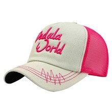 Бейсбольная кепка с вышитыми буквами, солнцезащитная Кепка из дышащего хлопка и сетчатой ткани, Спортивная уличная Кепка с регулируемой задней застежкой