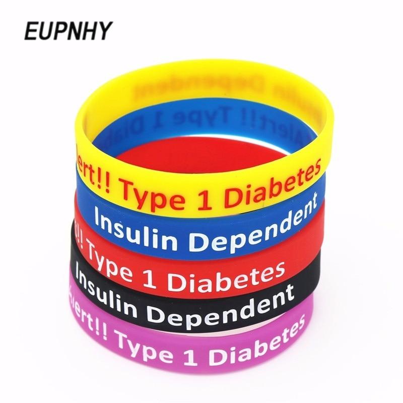 47b4a22dd445 EUPNHY 5 colores diabético enfermera pulseras pulsera de alerta médica  Diabetes tipo 1 dependiente de la insulina de silicona pulseras de brazalete