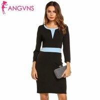 ANGVNS Schwarz Bodycon Kleid Tunika Frauen Herbst Arbeit Büro Mantel Patchwork Colorblock 3/4 Business Pinup Bleistift Kleider