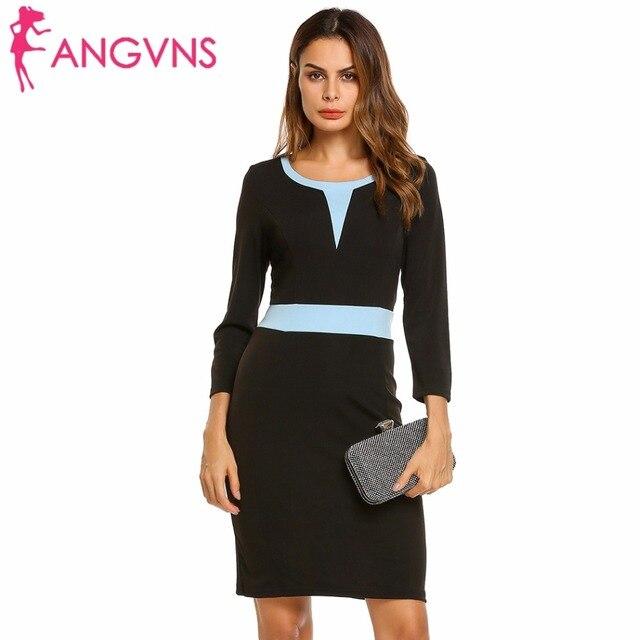 ab46a5023ec ANGVNS noir moulante robe tunique femmes automne travail bureau gaine  Patchwork Colorblock 3 4 manches